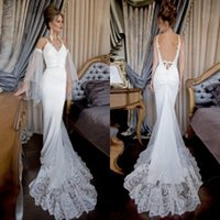armed beach - 2016 Beach Wedding Dresses Spaghetti Straps Beaded Appliques Backless Mermaid Wedding Gowns Sexy Bridal Dresses with Arm Bands