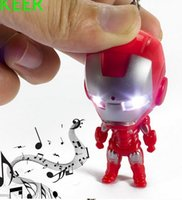 Wholesale DHL Fedex Fun Iron Man LED Flashlight Keychain Keyring With Sound Promotion Kids Gift KC205