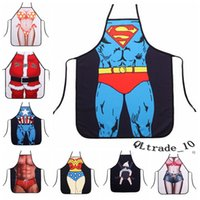 Wholesale 50P BBA4154 styles superhero apron superman batman aprons spiderman flash hulk apron Funny Cooking Anime Cartoon Aprons party gifts