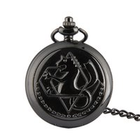 Wholesale Black Fullmetal Alchemist Quartz Watch Memory Pendant Necklace Steampunk style Men Pocket Watch Gift W93