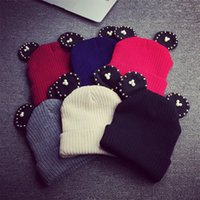 Wholesale Hand drill ear knit hat cute little Xiong Miqi autumn dress up cute wool hat