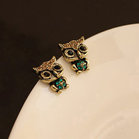 Wholesale New Designed Brand Jewelry Lady Fashion Owl Rhinestone Gold Plated Cute Vintage Ear Stud Earrings