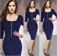 Wholesale Women Office Dress Patchwork bule Long Sleeve Work Wear Fashion Pencil Autumn Winter Dress Knee Length Bodycon Lady Dresses new arrive