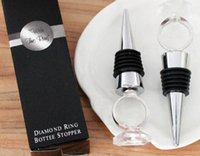 Wholesale 250pcs With this ring chrome diamond ring bottle stopper Wedding favors and gift for man