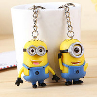 Wholesale Despicable Me Light Design Cartoon Cute Minions Led Key Buckle Keychain Flashlight Torch Sound Toy Promotion Novelty Gift Lover Children C
