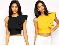 Wholesale S spring new European and American women shoulder cuff frills flying head camisole solid Polos yellow black