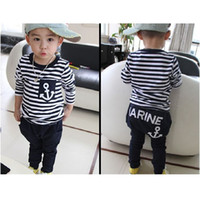 american marines - 2016 Marine Navy Sailor Boys Tracksuits Cotton set Children s T Shirts Trousers Sets Stripe Boy Sweatshirts Pant Suit