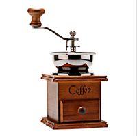 Wholesale Retro Wood Ceramic Handheld Coffee Grinder Machine Maker with Drawer for Espresso Mocha American Xafon Style