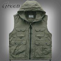 asia photos - Fall SXM Mens Womens Outdoor Photo Vest Jacket Sleeveless Multi Pocket Detachable Cap Vests Green Asia Tag Size M XL