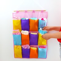 Wholesale Non woven home storage pockets multicolored multi wall bag storage bag bedside wall SNB