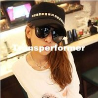Wholesale Korean style New Fashion Men Women Lady Personality Rivet Hat Navy Cap Service Cap Baseball Casual Cap Sun Hat RJ1213