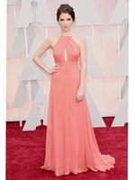 Wholesale The Oscars th Academy Awards Anna Kendrick Celebrity Dresses A line Halter Chiffon Beads Coral Floor Length Formal Prom Evening Gown