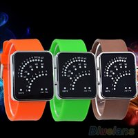 auto fan belt - Men s Women s Fan shaped Blue LED Display Digital Date Silicone Wrist Watch