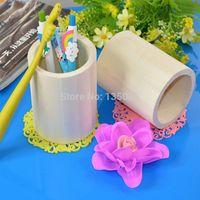 Wholesale Pen Case Brush Pot Wood Mud Base Art Decor Children Kid Baby DIY Wooden Crafts Toys Pencil Desktop Storage