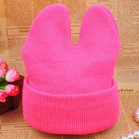 Wholesale Boys Girls Beanies Caps Winter Warm Hat Kids Cute Ox Horn Knitted Hats Y Freeshipping