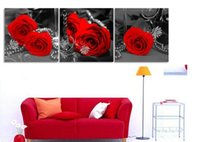 beautiful wife pictures - Red rose flower painting canvas wall art for home decoration beautiful modern pictures for wife