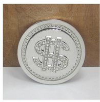 Wholesale US dollar spinner belt buckle with diamonds silver finish suitable for cm wideth belt with continous in stock fast shipping