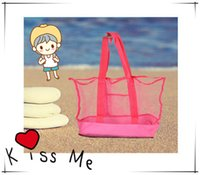 beach towel in bag - 2015 Lowest price large sand away Mesh Beach Bag Children Beach Toys Clothes Towel Bags baby toy collection bag IN stock P B146