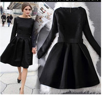embroidery work - Fashion Elegant Black Dresses Jacquard Long Sleeve Vintage Hoppen Style A line Ball Gowns Slim Midi Casual Dresses for Work