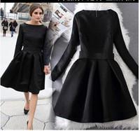 al por mayor vestido largo de jacquard-Olivia Palermo Elegante Negro Vestidos Jacquard de manga larga Vintage Hoppen estilo de una línea de vestidos de bola Señora Slim Midi Casual Vestidos para el trabajo