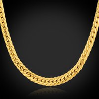 Wholesale 18K Real Gold Plated Necklace With quot K quot Stamp Men Jewelry New Trendy Chunky Snake Chain Necklace N739