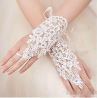 Wholesale Cheap New Arrival Lace Appliques Beads Fingerless Wrist Length With Ribbon Bridal Gloves Wedding Accessories