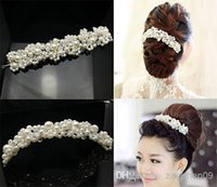 Wholesale 5PX White Faux Pearl crystals Beads Bridal Wedding Headpiece Head wrap Clip Tiara