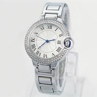 al por mayor cadenas de plata en caja-Las PC / porción de las nuevas mujeres del estilo de la manera / reloj de señora Watch del hombre de la caja de plata del diamante de acero de la cadena de la pulsera de los amantes de lujo miran la caja libre de la alta calidad