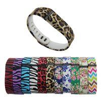 Reemplazo Fitbit Flex Muñequera REPLCE Parte Zebra patrón Leopard patrón TPU suave con cierres metálicos para Fitbit Flex pulsera inalámbrica