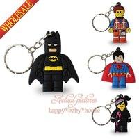 al por mayor kawaii-40PCS nuevo de la venta Superhéroes de Lego Movie novedad de la historieta Llaveros llaveros, Kawaii Mandos, llaveros PVC blandos, personaje de dibujos llaveros