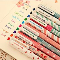 Notes office stationery set - 10 New Cute Cartoon Colorful Gel Pen Set Kawaii Korean Stationery Creative Gift School Supplies