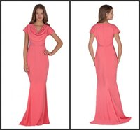 Cheap Scoop Neckline Mermaid Pink Evening Dresses Cap Sleeves Simply Zipper Back Peplum Sweep Train Ruched Chiffon Special Occasion Dresses 2015