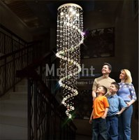 Wholesale Free shiping top sales modern lustre k9 chandelier spiral stair light crystal lamp Dia600 H2500mm