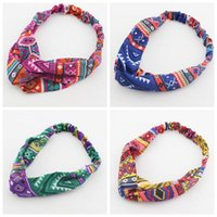 Wholesale New Fashion Vintage Tribal Geometric Aztec Twist Turban Headbands For Womens Ladies Girls Six Color