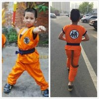 Wholesale 10pcs Anime Dragon Ball Son Goku Cosplay Costume Dragon Ball Z Cosplay Clothes for children sun wukong costume turtle clothing with wig