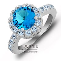 red plates - Classic women round cz stone rings red blue sapphire diamond topaz sterling silver plated engagement ring jewelry SR0683