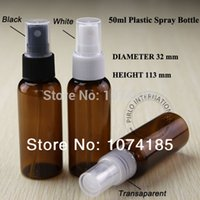 Cheap 50ml Amber Empty Refillable PET Travel Perfume Spray Atomizer Pump Plastic Bottle Jar Set Cosmetic Container With Free Shipping