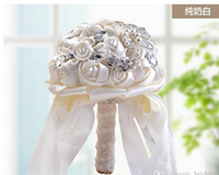 Wholesale Bridal Bouquets Artificial Flowers Ivory White Wedding Flowers Bouquets Artificial Rose Flower Bridal Crystal Wedding Bouquets
