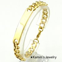 Wholesale Identification Gold Rose Gold Silver to choose cm mm ID Bracelet Stainless Steel Men Women Bracelets Never Fade Quality KB001