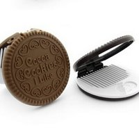 Wholesale Cute Cookie Shaped Design Mirror Makeup Chocolate Comb With Comb