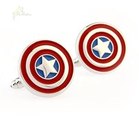 Wholesale Captain America Cufflinks Gemelos Para Hombre Boda New Cufflinks For Mens Wedding High Quality Bouton Manchette Men C031