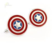 Wholesale Captain America Cufflinks Gemelos Para Hombre Boda New Cufflinks For Mens Wedding High Quality Bouton Manchette Men C031