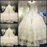 real diamonds - Luxury Wedding Dresses Scoop A Line Exquisite Lace with Bling Crystal Diamonds Cathedral Train Bridal Gowns Sleeveless Wedding Dress HY