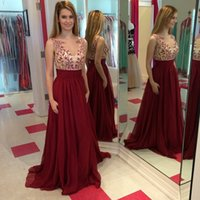 imported fabric - New Elegant A Line Imported Party Dress Wine Red Sexy Lace Applique Floor Length Pleated Chiffon Fabric Women Formal Dresses Prom Gowns