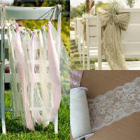 Wholesale Cheap Christmas Party Decorations - White Lace Wedding Decorations Supplies Boho Beach Wedding Party Banquet Flower Chair Sashes Hair Accessories DIY Wedding Events 2015 Cheap