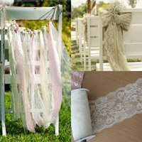 beach hair accessories - White Lace Wedding Decorations Supplies Boho Beach Wedding Party Banquet Flower Chair Sashes Hair Accessories DIY Wedding Events Cheap