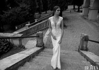 Cheap New Berta Winter 2014 Lace Wedding Dresses With Deep V Neck Sheer Illusion Back Sheath Sweep Train Covered Button Custom White Bridal Gowns