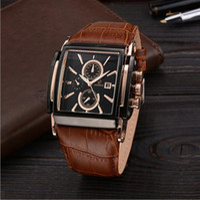 Wholesale Top Grade Casual Clock Genuine Leather Square Watch for Men Quartz Wrist Watches