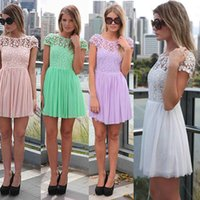 crocheted dress - 2015 Casual Mini Dress New Fashion Crochet Floral Lace Open Back Candy Color Chiffon Skater Dress Women Clothing Vestidos Femininos G0941