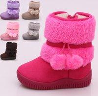 Wholesale 2015 winter plus thick velvet waist solid color plush balls warm casual boots years children soft bottom Velcro snow walking boots D